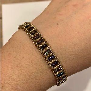 Premier designs gold tone bracelet colored glass